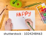kids hand drawing a greeting... | Shutterstock . vector #1024248463
