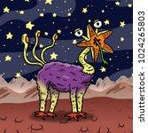crazy strange space alien or... | Shutterstock . vector #1024265803