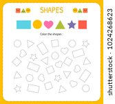 coloring multiple shapes. learn ... | Shutterstock .eps vector #1024268623
