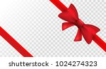 red ribbon with red bow. vector ...   Shutterstock .eps vector #1024274323