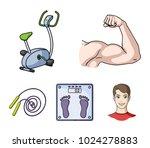 biceps  exercise bike  scales... | Shutterstock .eps vector #1024278883