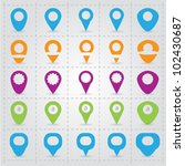 vector map pins pointer vector... | Shutterstock .eps vector #102430687