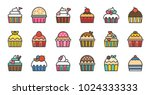 set of cute fancy cup cake ... | Shutterstock .eps vector #1024333333