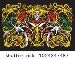 dayak traditional ornaments... | Shutterstock .eps vector #1024347487