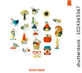 set of flat autumn icons.... | Shutterstock .eps vector #1024365367