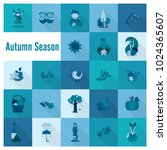 set of flat autumn icons.... | Shutterstock .eps vector #1024365607