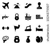 solid vector icon set   plane... | Shutterstock .eps vector #1024375507