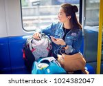 young woman traveling looking... | Shutterstock . vector #1024382047