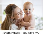 happy family laughing faces ... | Shutterstock . vector #1024391797