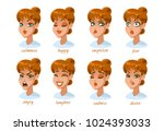 woman character expressions set.... | Shutterstock .eps vector #1024393033