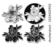 vector peony tattoo art design | Shutterstock .eps vector #1024420903
