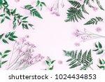 flowers composition. frame made ... | Shutterstock . vector #1024434853