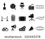 black movies icons set - stock vector