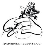 tattoo artist. tattoo machine | Shutterstock .eps vector #1024454773