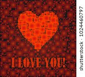 i love you text and heart sign  ... | Shutterstock .eps vector #1024460797