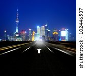 night road leading to the... | Shutterstock . vector #102446537