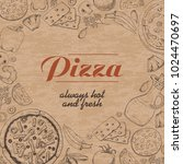 vector background with pizza... | Shutterstock .eps vector #1024470697