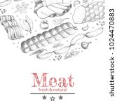 vector background with meat... | Shutterstock .eps vector #1024470883