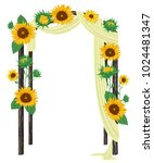 beautiful wedding arch with... | Shutterstock .eps vector #1024481347