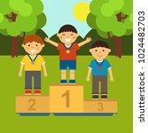 three little boys on the... | Shutterstock .eps vector #1024482703