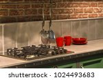 gas oven kitchen interior. | Shutterstock . vector #1024493683