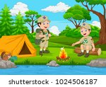 cartoon scout with tent and... | Shutterstock .eps vector #1024506187