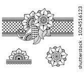 henna tattoo flower template... | Shutterstock .eps vector #1024516123