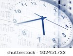 Clock and diary page dates - stock photo