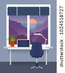 home workplace at the window... | Shutterstock .eps vector #1024518727