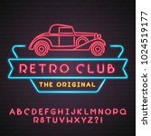 retro club neon light glowing... | Shutterstock .eps vector #1024519177