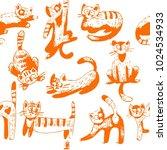 attern of funny cats  vector... | Shutterstock .eps vector #1024534933