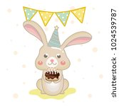 cute birthday greeting card... | Shutterstock .eps vector #1024539787