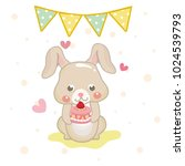 cute birthday greeting card... | Shutterstock .eps vector #1024539793