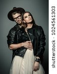beautiful fashionable couple... | Shutterstock . vector #1024561303