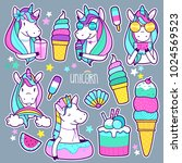 set of cute unicorn stickers ... | Shutterstock .eps vector #1024569523