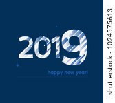 happy new year 2019 vector... | Shutterstock .eps vector #1024575613