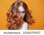 beautiful redheaded girl with... | Shutterstock . vector #1024579537