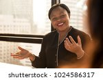 friendly black businesswoman... | Shutterstock . vector #1024586317