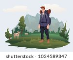 happy young man with backpack... | Shutterstock .eps vector #1024589347