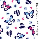 butterflies and hearts pattern... | Shutterstock .eps vector #1024592713