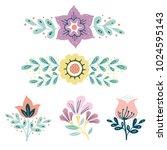 vector wreath  herbs and... | Shutterstock .eps vector #1024595143