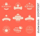 happy birthday badges and... | Shutterstock .eps vector #1024595287