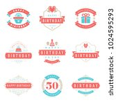 happy birthday badges and... | Shutterstock .eps vector #1024595293