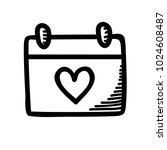 love calendar   calendar doodle ... | Shutterstock .eps vector #1024608487