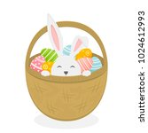 rabbit in basket isolated on... | Shutterstock .eps vector #1024612993