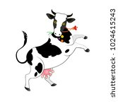 white cow with black spots. ... | Shutterstock .eps vector #1024615243