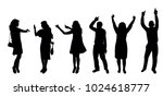 silhouette people dancing | Shutterstock .eps vector #1024618777
