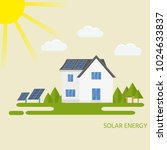 clean modern house with solar... | Shutterstock . vector #1024633837