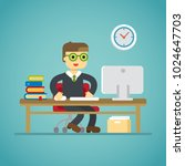 computer work office study book ... | Shutterstock .eps vector #1024647703