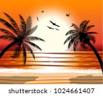 Silhouette Of Palm Tree On...